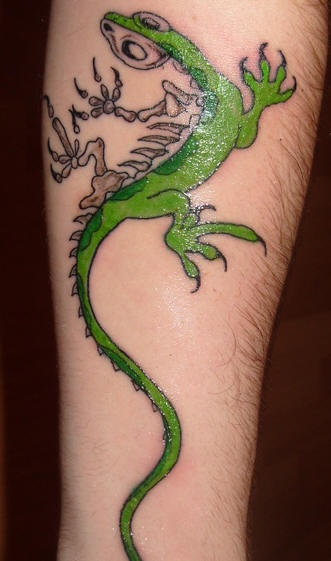 Lizard half skeleton tattoo