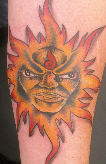 Orange humanized sun tattoo