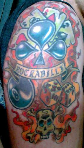 Rockabilly hell player coloured tattoo