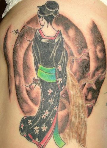Rib tattoo, charming, handsome, geisha staying backwards