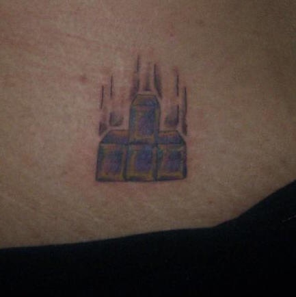 Tetris tattoo on ass