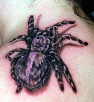 3d large spider tattoo on shoulder