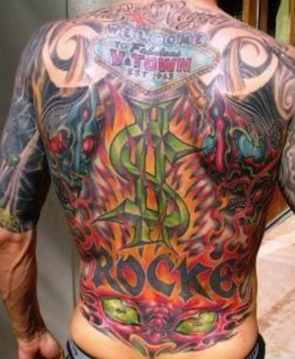 Vegas casino colourful full back tattoo