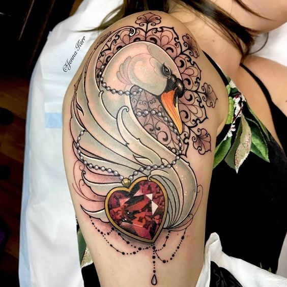 Tattoo painted by Jenna Kerr in modern style of swan with heart shaped diamond