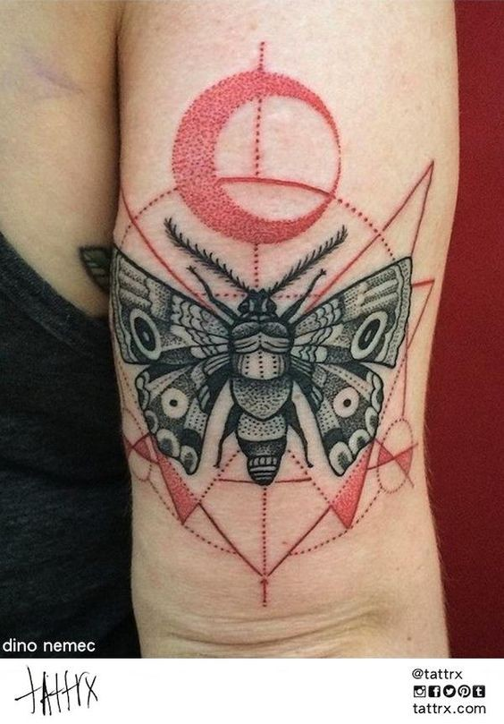 Trash polka style colored arm tattoo of big bug with ornaments
