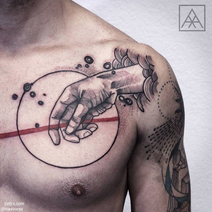 Trash polka style colored collarbone tattoo of human hand with circle