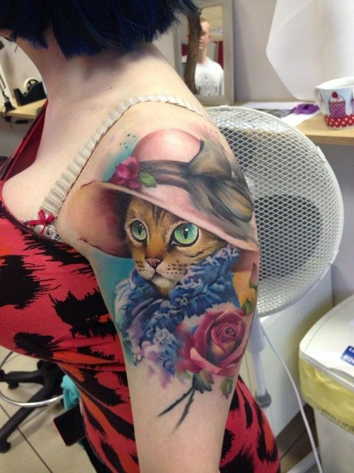 Unbelievable painted for girls style shoulder tattoo of lady cat with flowers