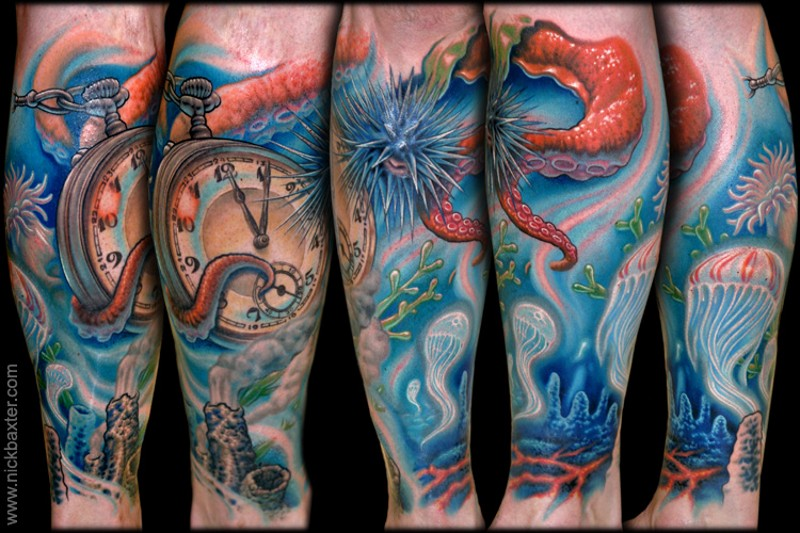 Underwater themed colorful leg tattoo of old clock and jellyfish