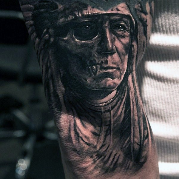 Unique designed colored old Indian skull face tattoo on elbow