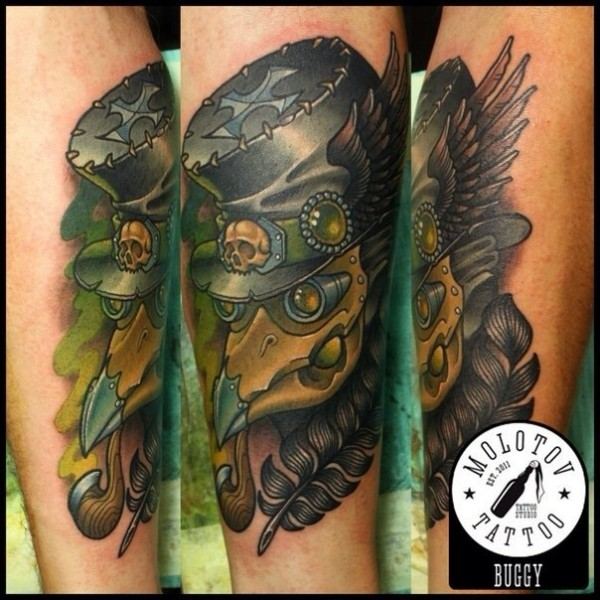 New school style colored forearm tattoo of fantasy plague doctor with feather