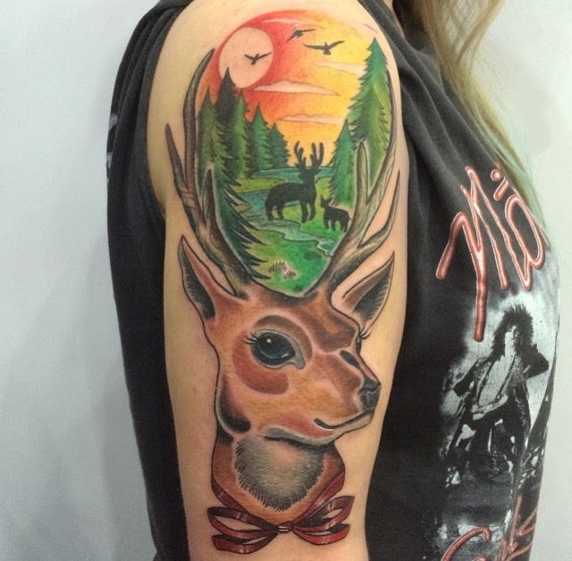 Illustrative style colored shoulder tattoo of deer stylized with beautiful picture