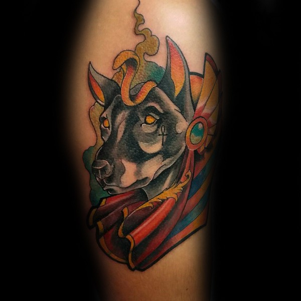 New school style colored arm tattoo of big mystical dog with Egypt symbols