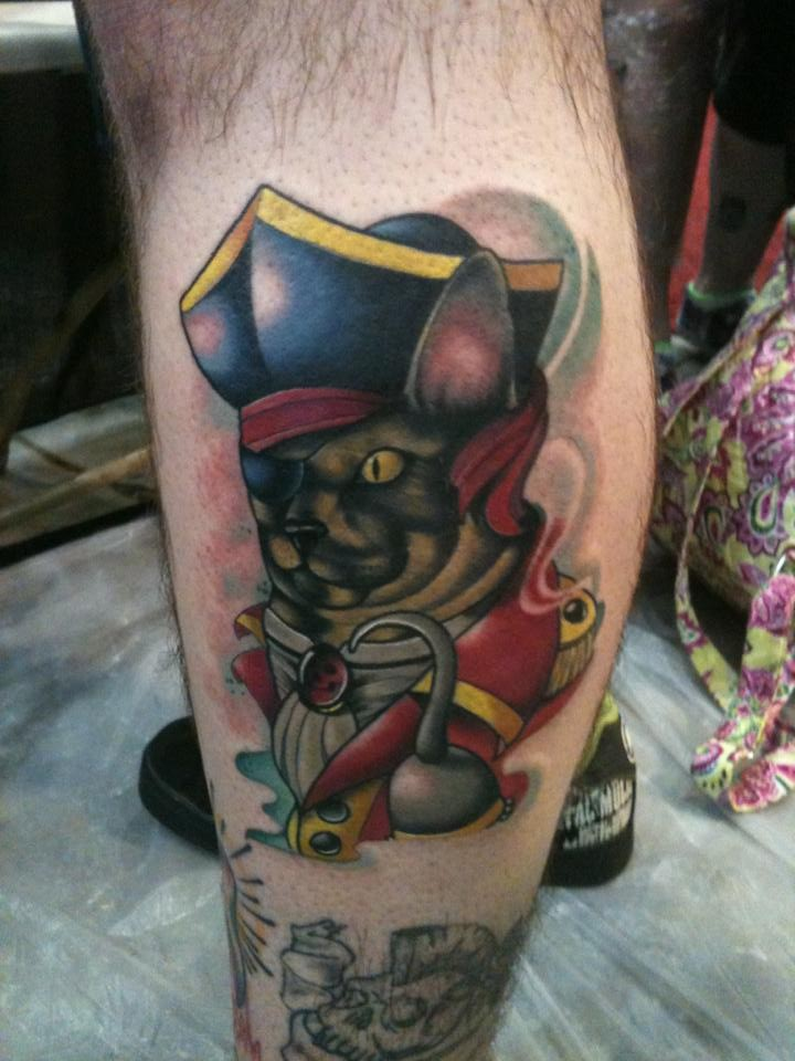 New school style colored leg tattoo of soldier like leg tattoo of cat