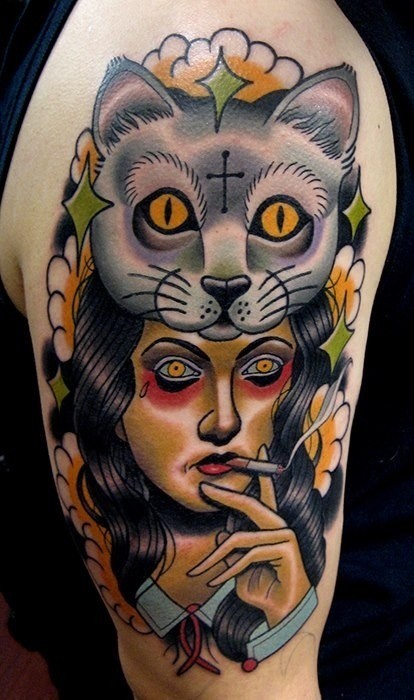 New school style colored shoulder tattoo of mysterious smoking woman with cat helmet