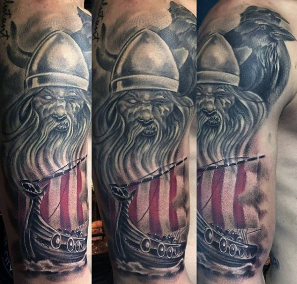 Unusual combined colored viking warrior with ship tattoo on half sleeve with dark crow
