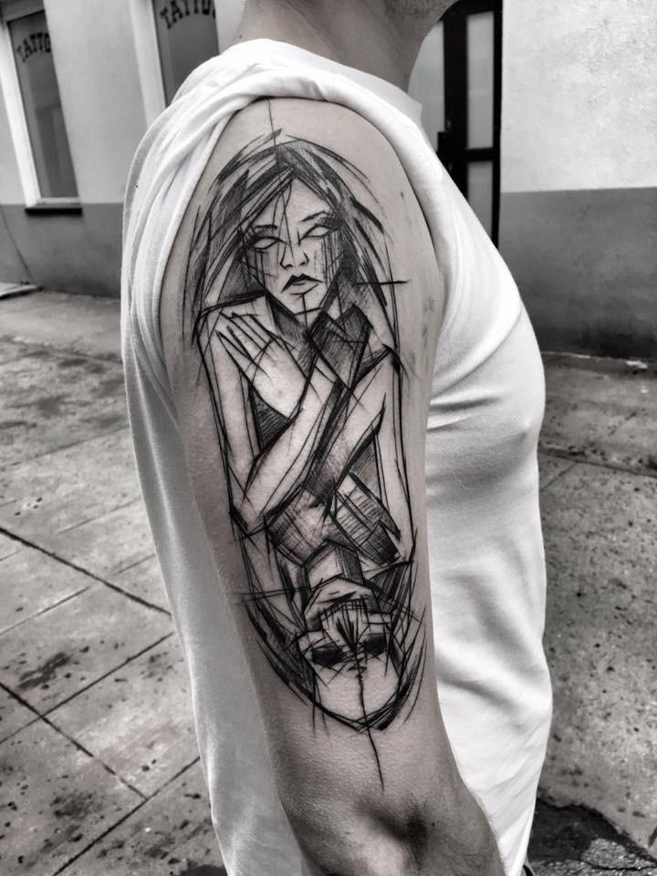 Unusual combined linework style half sleeve tattoo of woman with skeleton by Inez Janiak