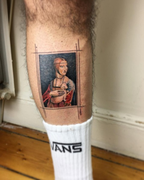 Vintage style colored leg tattoo of old woman with cute animal