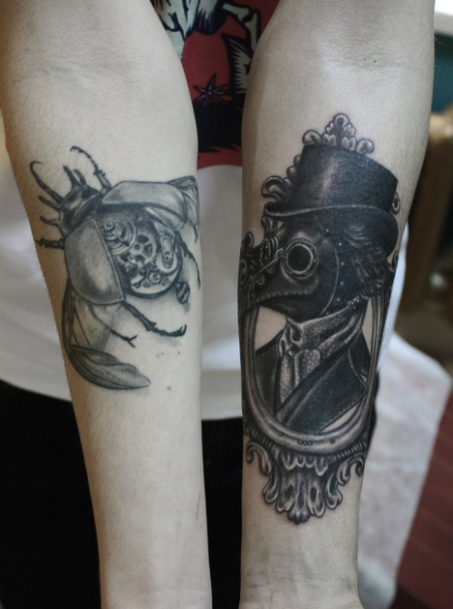 Vintage style detailed forearm tattoo of plague doctor with mechanical bug