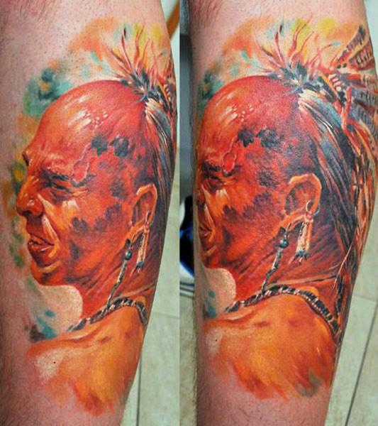 Vivid colors native american warrior tattoo by dmitriy samohin