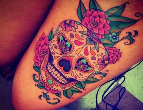 vivid colors sugar skull with roses tattoo