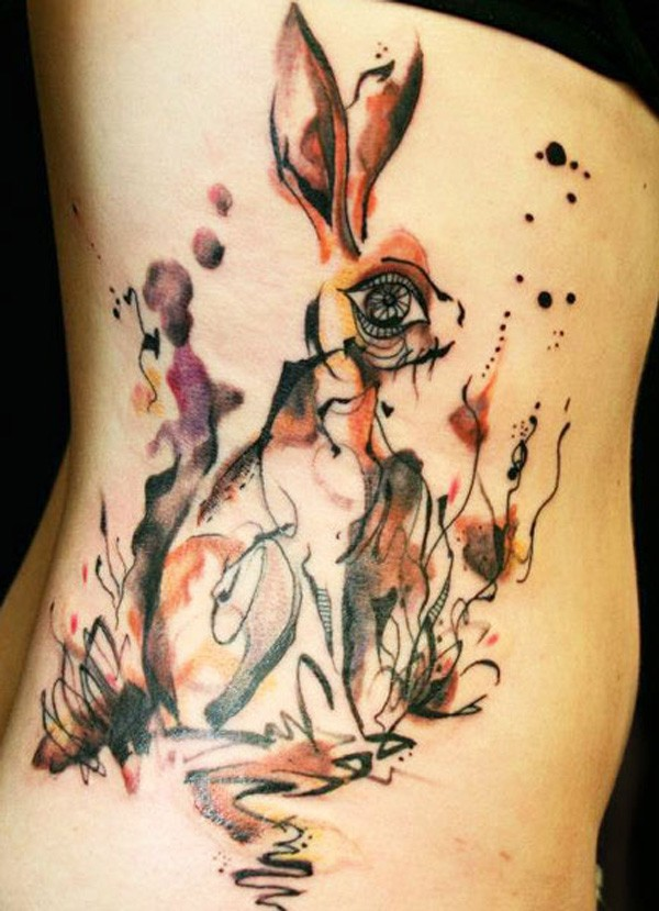 Watercolor hare tattoo