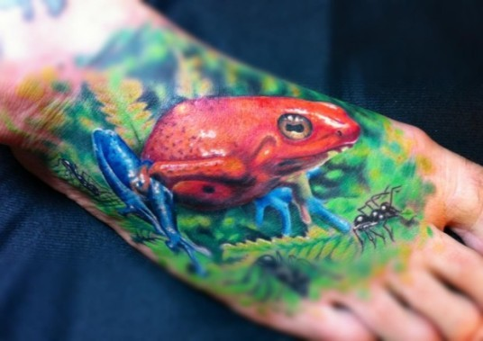 Watercolor red frog tattoo by karl berringer