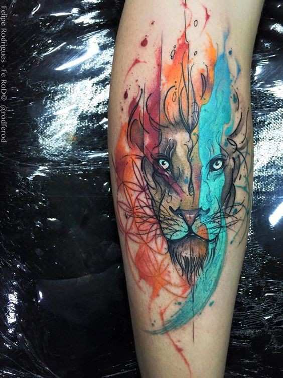 Watercolor style colored tattoo of flames shaped lion head