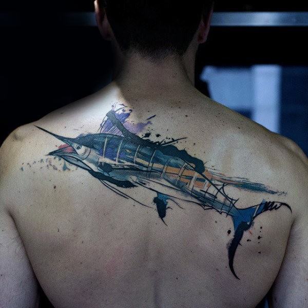 Watercolor style colored upper back tattoo of enormous fish