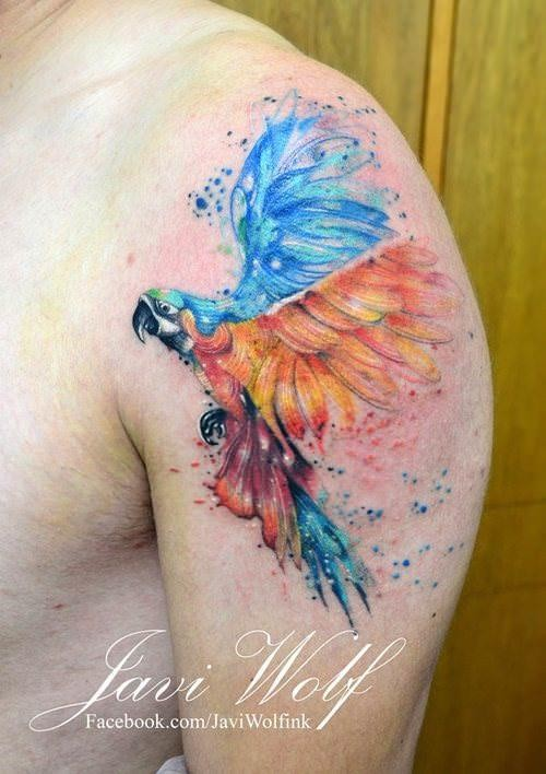 Watercolor style large colorful shoulder tattoo of flying parrot