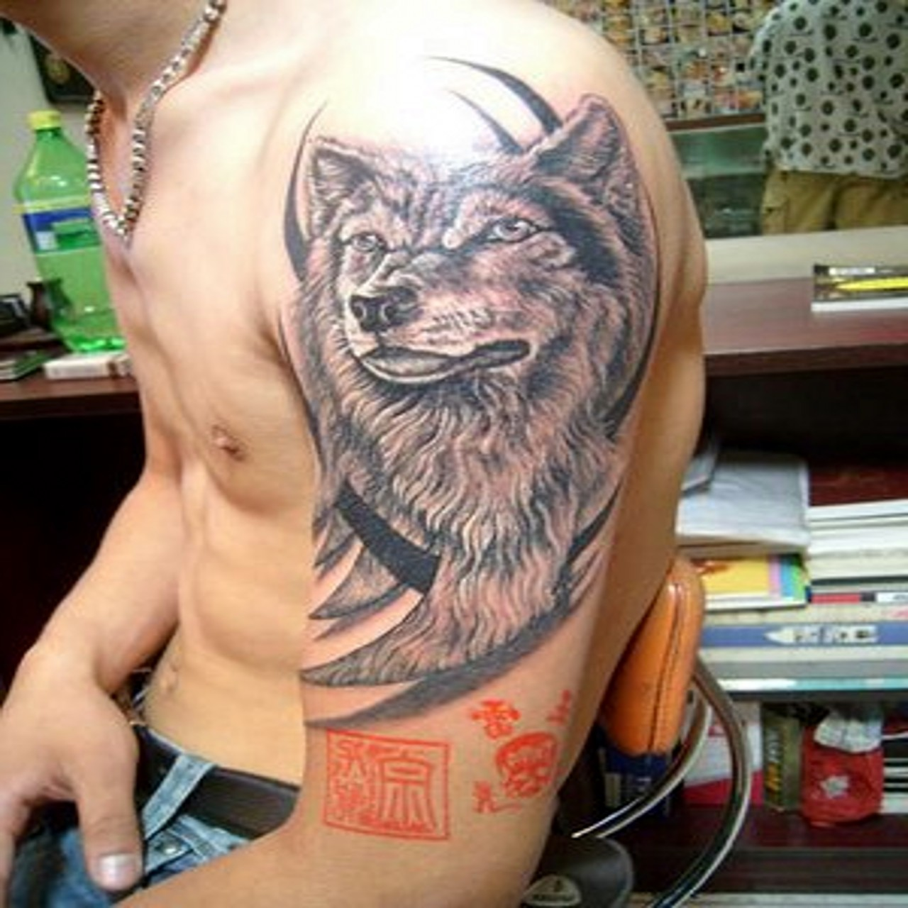 Indian with eagle and wolf tattoo on shoulder tattooimages biz - Wolf Tattoos For Shoulder