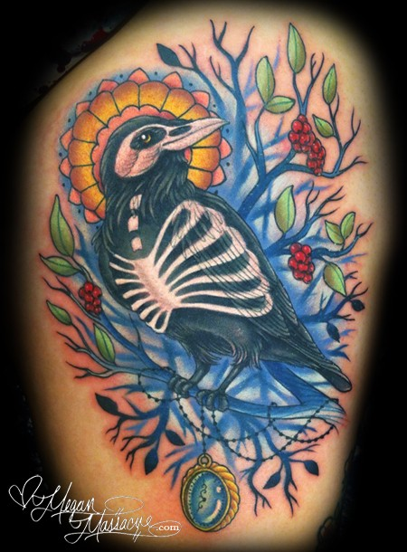 Wonderful colored big beautiful crow with blooming tree tattoo