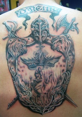 Wonderful family crest tattoo on back