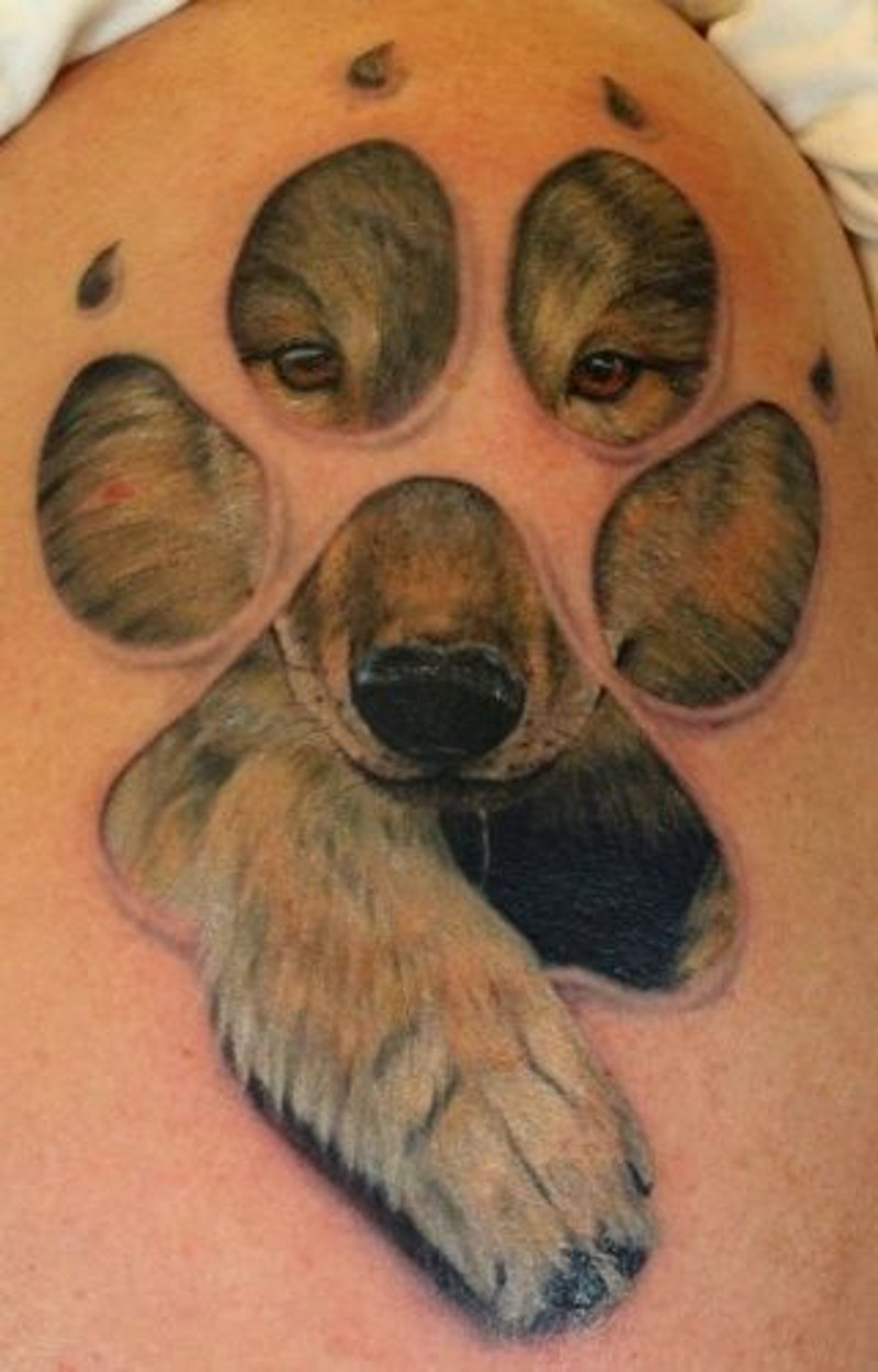 Indian with eagle and wolf tattoo on shoulder tattooimages biz - Wonderful Painted Cute Little Wolf Portrait Tattoo On Upper Arm