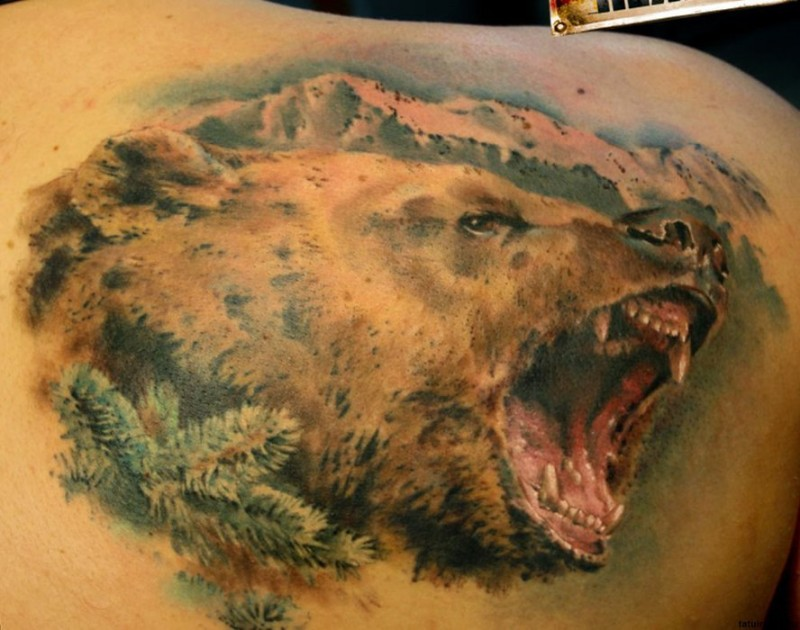 Wonderful portrait of a grizzly bear tattoo on shoulder blade