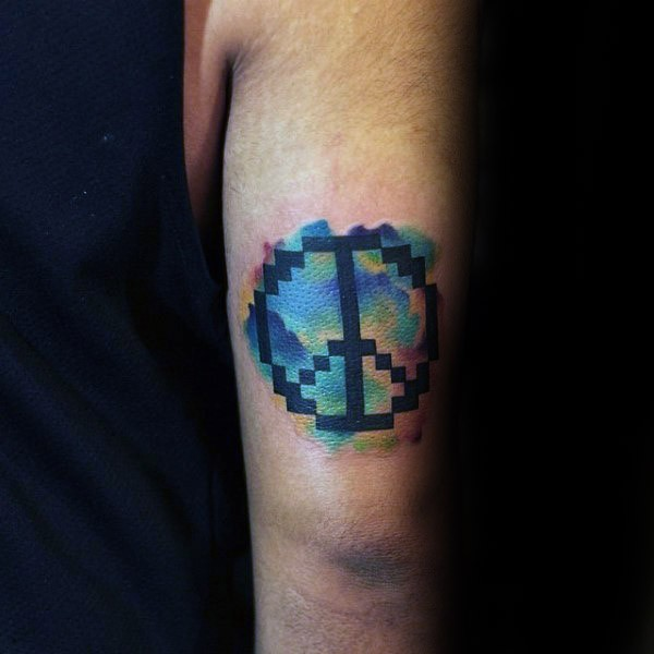 2D style colored arm tattoo of pacific symbol