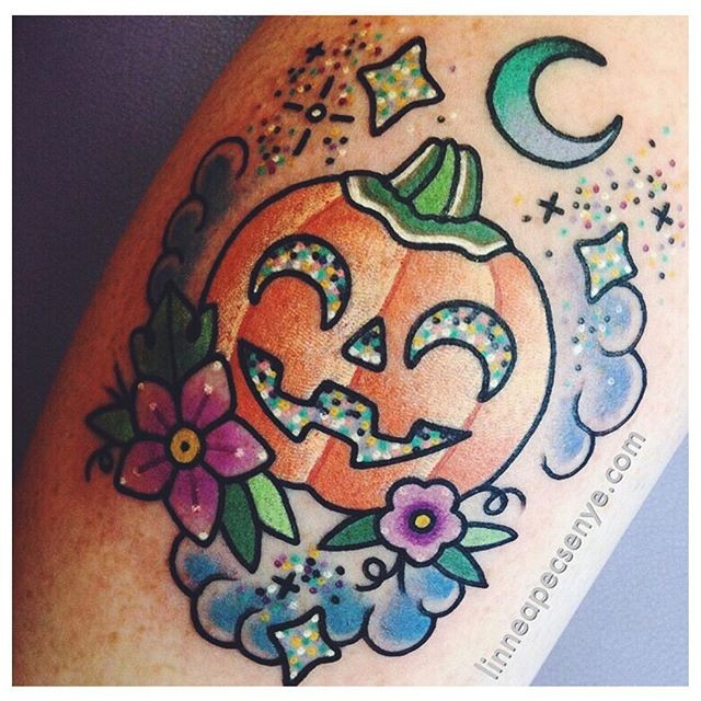 2D style cute little pumpkin with moon tattoo on leg