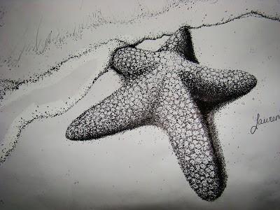 3D dotwork-style starfish lying on beach tattoo design