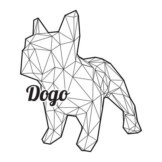 3D geometric bulldog with quote tattoo design