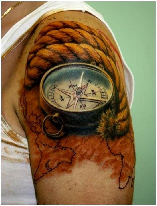 3 compass with rope and map of world tattoo