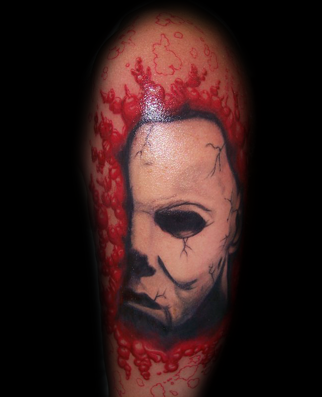 3D Amazing looking colored bloody white mask tattoo on shoulder