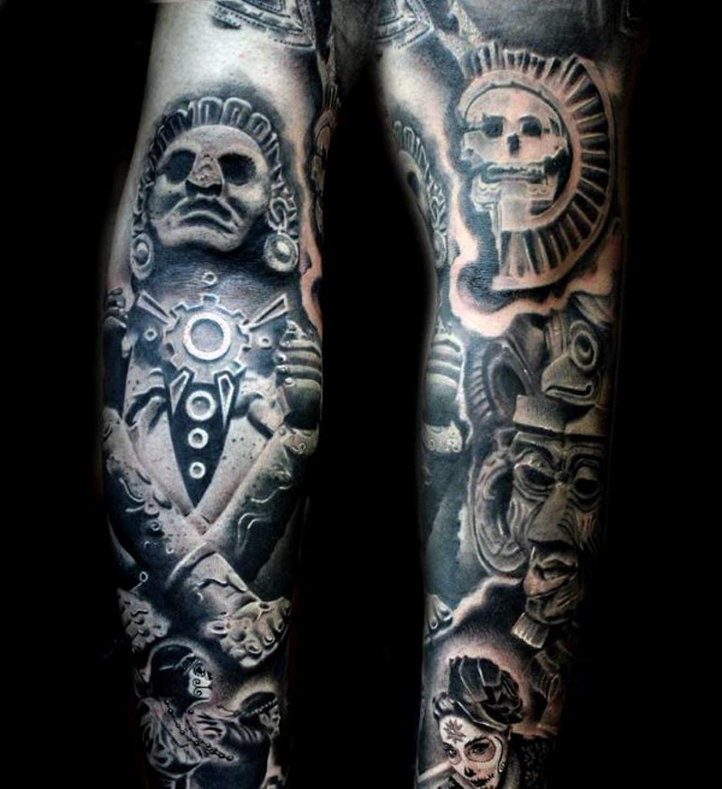 3D antic black ink forearm tattoo of tribal statues
