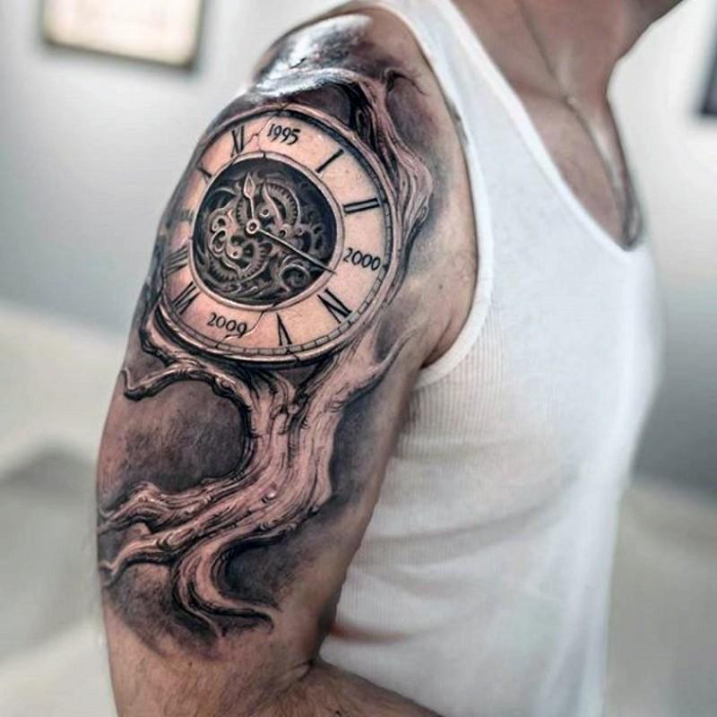 3D eccezionale dettagliato grande orologio su albero tatuaggio nero e bianco su spalla