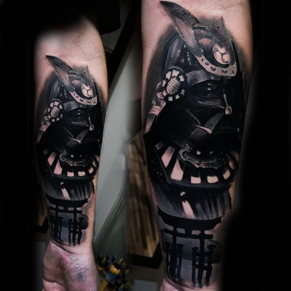 3D big black ink Asian style forearm tattoo of Darth Vaders mask