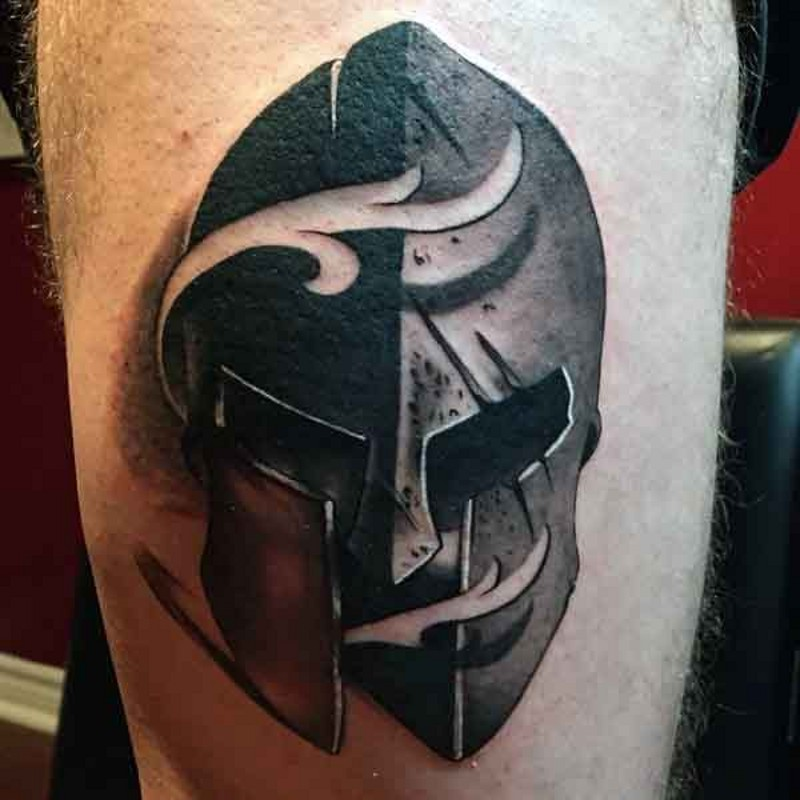 3D big detailed corrupted warrior helmet tattoo on thigh with white smoke