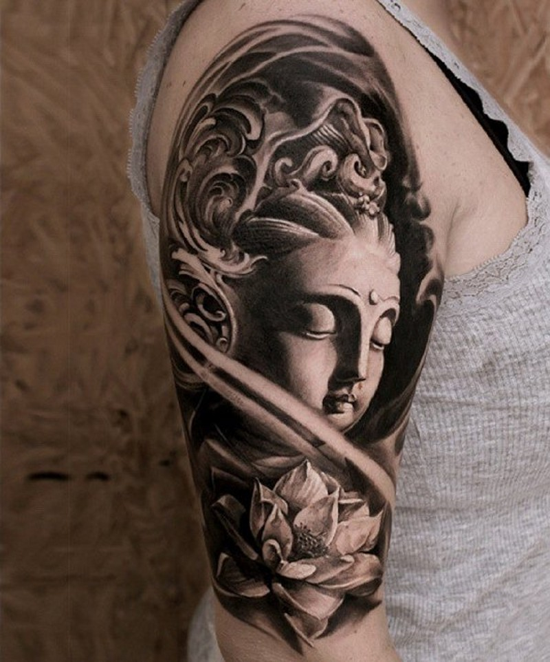 3d black and white buddha statue tattoo on shoulder combined with lotus. Black Bedroom Furniture Sets. Home Design Ideas