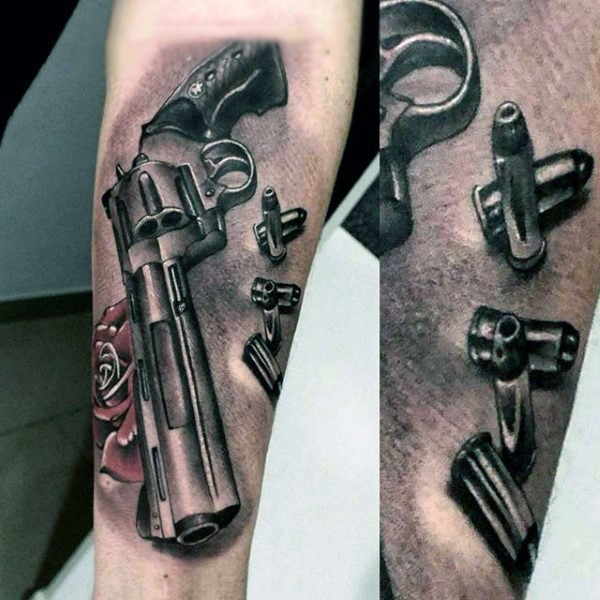 3D detailed and colored massive pistol with bullets and red rose tattoo on arm