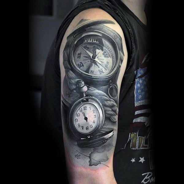 3D detailed black and white compass with clock shoulder tattoo