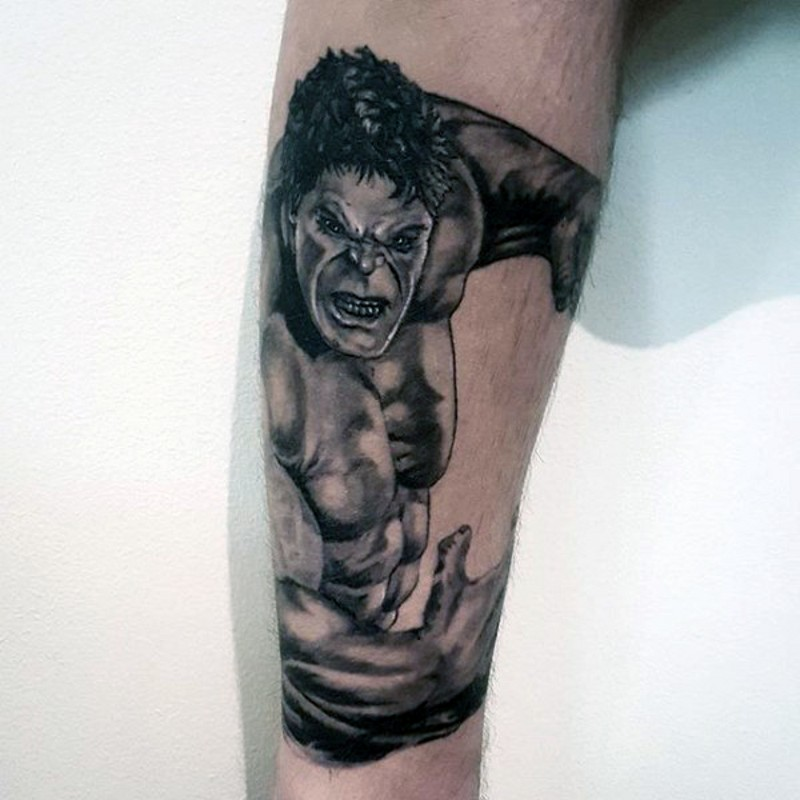 3D detailed painted black and white Hulk hero tattoo on forearm