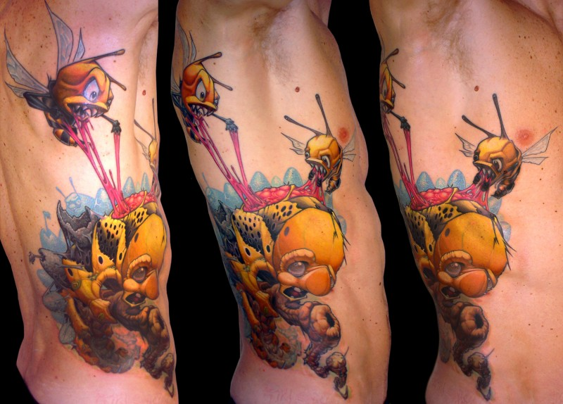 3D funny cartoon like colored side tattoo of flying bees