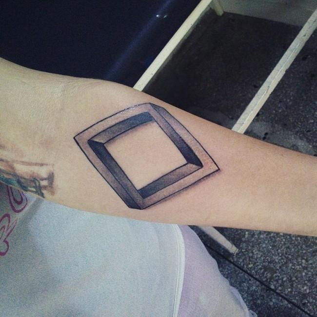 3D geometrical style simple geometrical figure tattoo on forearm